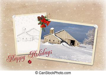 Christmas Barn - Old barn with Christmas greetings.