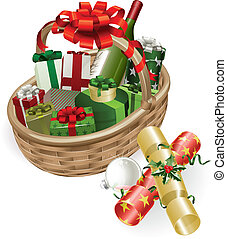Christmas basket illustration - A Christmas basket with...