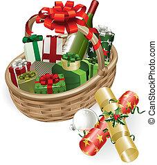Christmas basket illustration - A Christmas basket with...