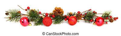 Christmas bauble and garland border - Long horizontal ...