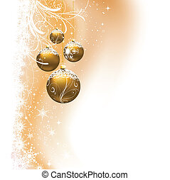 Christmas bauble background - Hanging baubles on decorative...
