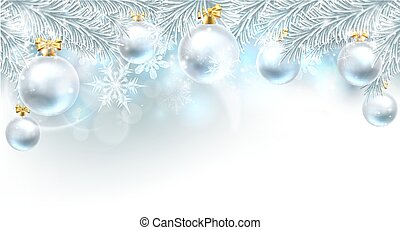 Christmas Bauble Background Top Border - Snowflakes and...