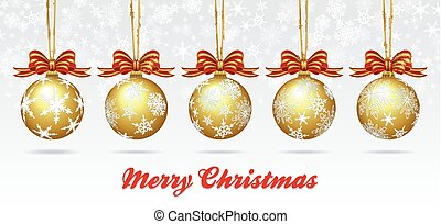 Christmas Bauble on a Snowflake Background Card - Merry Christmas