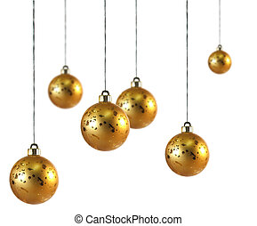 Christmas Bauble - Christmas baubles hang in white space