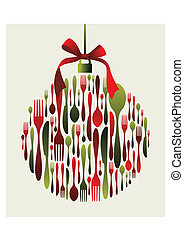 Christmas bauble Cutlery. Fork, spoon and knife pattern in bauble shape with a ribbon on top. Usable as invitation card. Vector file available.