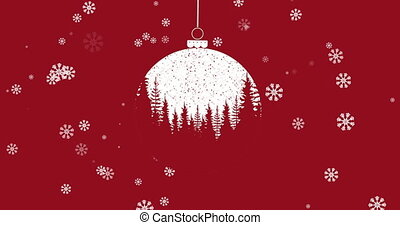 Christmas bauble dangling with Christmas tree pattern against snowflakes falling on red background