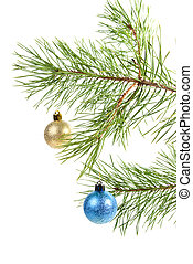Christmas bauble on background tree