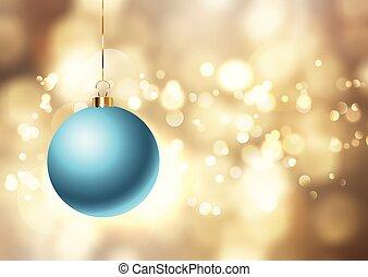 Christmas bauble on golden lights background