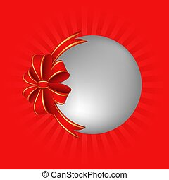 Christmas bauble on red background