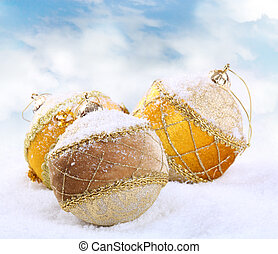 Christmas bauble on white snow background