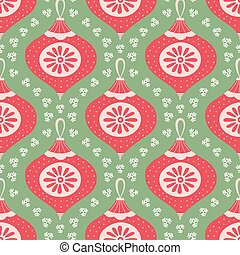 Christmas bauble pattern design in red, green and white. Seamless vector seasonal illustration with snowflakes.