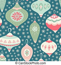 Christmas bauble pattern design with snowflakes in green, pink and blue. Seamless vintage style vector seasonal illustration.