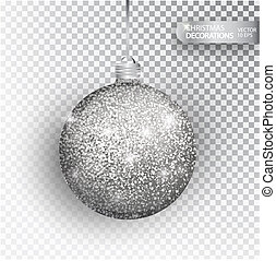 Christmas bauble silver glitter isolated on white. Sparkling...
