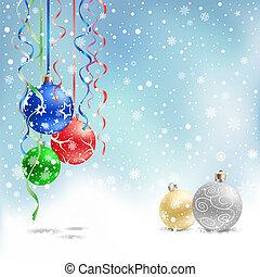christmas bauble snow ribbon