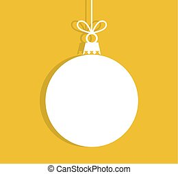 Christmas bauble white tag on golden background.