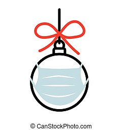 christmas bauble with face mask, christmas celebration during coronavirus pandemic, protective measures- vector illustration