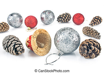 Christmas bauble with pine cones