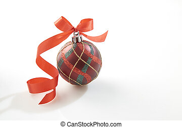 Christmas bauble with red bow on white