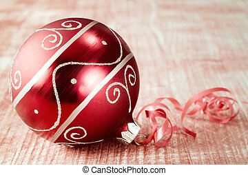 Christmas bauble with ribbon.