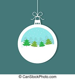 Christmas bauble with winter landscape