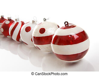 Christmas Baubles - A selection of red and white Christmas ...