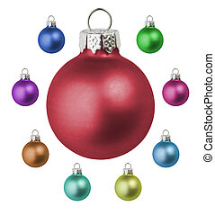 Christmas baubles - A set of different colored christmas...
