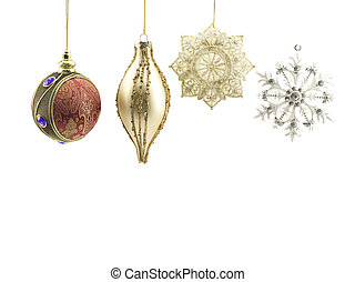 christmas baubles against white background - Close-up of...