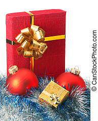 Christmas baubles and gift box