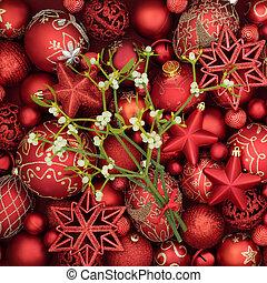 Christmas Baubles and Mistletoe