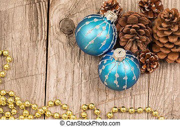 Christmas baubles and pine cones