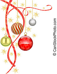 Christmas baubles and ribbon