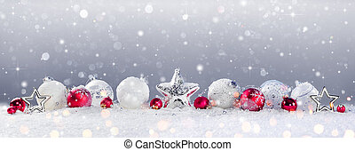 Christmas Baubles Decoration And Snowfall On Snow