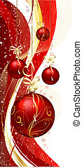 christmas baubles - Hanging Christmas baubles on decorative...
