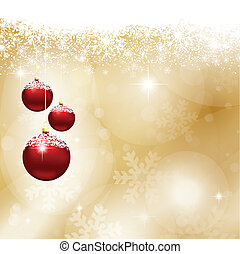 Christmas baubles on a background of snowflakes and stars
