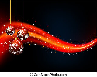 Christmas baubles - Starry Christmas background with hanging...