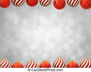 Christmas baubles frame on white defocused background ,...