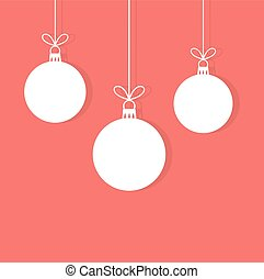 Christmas baubles hanging ornaments on red background