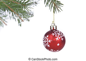 Christmas baubles hung from a branch of fir tree on white...