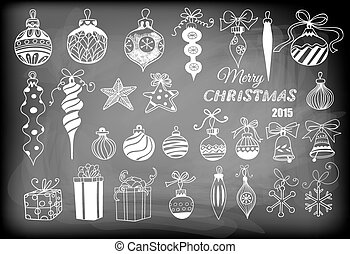 Christmas baubles. Hand - drawn collection of Christmas...