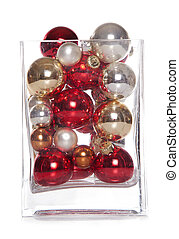 christmas baubles in a vase