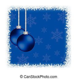 Christmas Baubles in Frozen Frame with Snowflakes on Blue