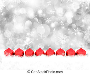Christmas baubles in snow - Decorative Christmas background ...