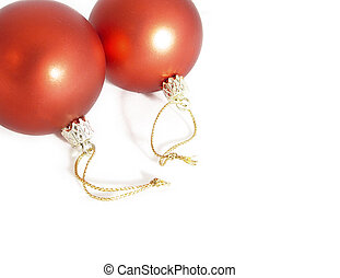 Christmas baubles isolated on a white background