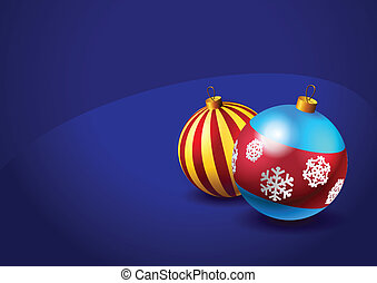 Christmas baubles on blue background