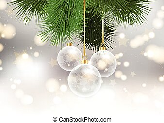 christmas baubles on bokeh lights background 2209