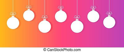 Christmas baubles on colorful gradient background.