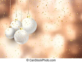 christmas baubles on confetti background 3008
