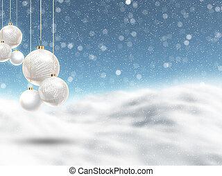 Hanging Christmas baubles on a defocussed winter landscape