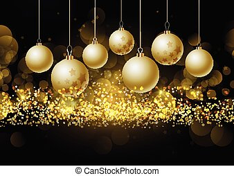 christmas baubles on glittery gold background 0208