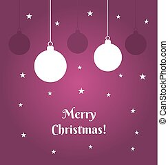 Christmas baubles on purple background